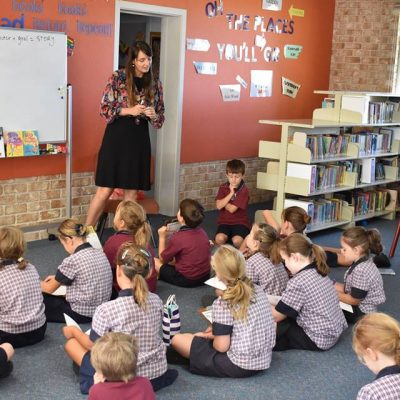 Zanni chatting to kids at St James' Primary
